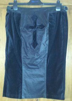 RARE LIPSERVICE BLACK METAL CRUCIFIX KILT L UK 12 CROSS PENCIL SKIRT VELVET GOTH in Clothes, Shoes & Accessories, Women's Clothing, Skirts | eBay