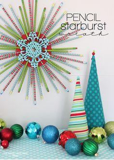 Pencil Starburst Wreath