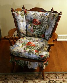 This rocking chair was an estate find and is in beautiful condition. It looks like it was just taken off the show room floor. I love the floral pattern and all the colors. Cushions are like new and fluffy. Maple Furniture, Cabin Furniture, Refurbished Furniture, Cool Furniture, Early American Decorating, Glider Rocking Chair, Mahogany Dining Table, High Back Chairs, Farmhouse Chic