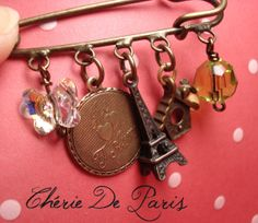 Love Eiffel Tower Pin Brooch Je T'Aime medaillon by CherieDeParis