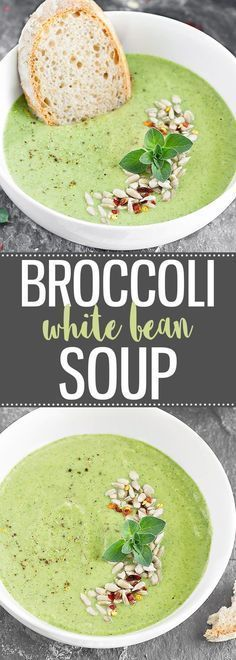 Healthy Meals Broccoli White Bean Soup - creamy, healthy and super easy to make! (vegan gluten-free dairy-free) via /easyasapplepie/ - Broccoli White Bean Soup - creamy, healthy and super easy to make! Whole Foods, Whole Food Recipes, Cooking Recipes, Vegan Soups, Vegetarian Recipes, Healthy Recipes, Vegan Bean Soup, Free Recipes, Easy Vegan Soup