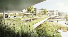 Finalist for the new North Zealand Hospital, C. Møller's proposal integrates architecture with nature to 'form a safe environment for patients, a super functional and attractive workplace and a green recreational haven for all citizens in the area'. Visualisation, Architecture Visualization, Architecture Drawings, Landscape Architecture, Landscape Design, Architecture Design, Healthcare Architecture, Healthcare Design, Modern Hospital