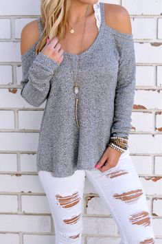Casual Grey Thin Shoulder Cold Shoulder Long Sleeve T-shirt