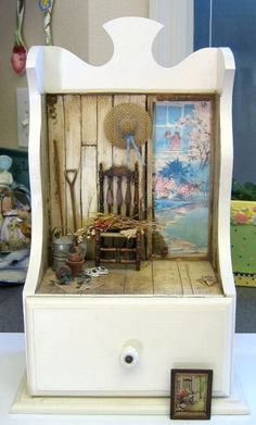 OOAK By Ann Maselli - Miniature room box scene inspired by a Norman Rockwell painting in one inch scale