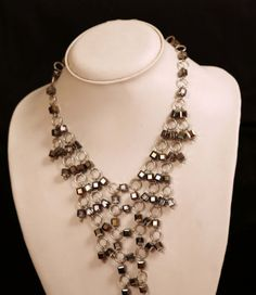 Geometric-Angles-Black-and-Grey-Cube-shaped-Swarovski-Crystals-Handmade-Neckla