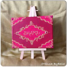 Mini personalised name canvas on easel by @Henna_ByBella