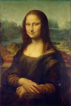 """Mona Lisa"" by Leonardo da Vinci (1503-1506). ""The most famous painting in the world, Leonardo da Vinci's Mona Lisa (aka La Gioconda or La Joconde) with her mysterious smile and cutting-edge illusionism for the early 1500s. This masterpiece has been on display at the Louvre since 1797. Saw her in Feb. 1975. Much smaller than I thought it would be."