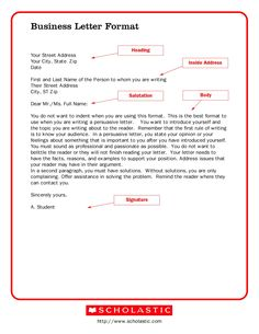 Sample Professional Letter Formats  Business Letter Business