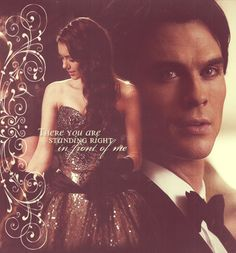 <3 Damon and Elena. Look. Look at the look on his face when he sees her...
