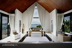 Window Coverings vaulted ceiling window treatments, exotic, tropical, hotel design --- We can help you replicate this look!