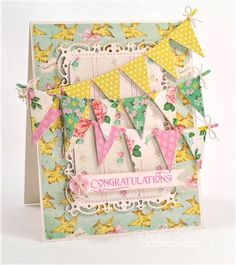 card designed by Debbie Olson using Buntings and Banners Clear Stamps and Buntings and Button dies