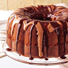 Chocolate Syrup Cake ~~ A rich chocolate-and-buttercream drizzle takes classic Bundt cake to the next level.