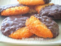 Welcome Home Blog: ♥ Chocolate Dipped Coconut cookies