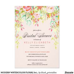 MODERN WATERCOLOR FLORAL bridal shower invitation. Order yours at Boardman Printing