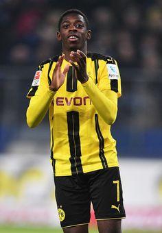 Ousmane Dembélé of Dortmund celebrates scoring the fifth goal during the Bundesliga match between Hamburger SV and Borussia Dortmund at Volksparkstadion on November 5, 2016 in Hamburg, Germany.