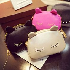 Pretty Cat Makeup Bag - $17   This Pretty Cat Makeup Bag is all about being pretty. This long lashed beauty features eyelashes that you know have been well maintained by a beauty specialist, along with cute little ears sticking up. It is the purrfect bag to hold your makeup and other small items. Made of PU leather, it has a soft and sleek look to it that looks just like leather, but isn't (we don't like animal harming products). Why settle for a plain old bag when you can get this adorable…