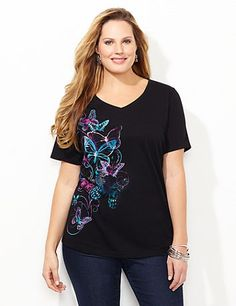 Butterfly Tee | Catherines Vibrant butterflies cascade down our tee to inspire with their grace and delicacy. Inspirational words intertwine within the pattern for added interest. V-neckline. Short sleeves. Solid back. Catherines tops are perfectly proportioned for the plus size woman. #catherines #plussizefashion #spring #butterfly