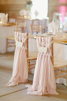 Reception Chair Decor Inspiration \\ #AislePerfect.   Blush Pink Gold Wedding chair decor. Photography: Simply Bloom Photography