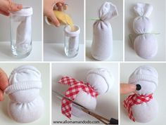 23 Clever DIY Christmas Decoration Ideas By Crafty Panda Diy Christmas Videos, Diy Christmas Gifts For Family, Christmas Crafts For Kids, Xmas Crafts, Diy Crafts For Kids, Sock Crafts, Sock Snowman Craft, Snowman Crafts, Handmade Christmas Decorations