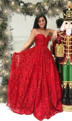 unique red sweetheart long prom dresses, modest lace party dresses with beading, simple fashion evening gowns