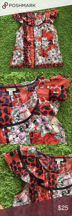 Anthropologie odille silk red floral top Anthropologie odille silk red floral top Anthropologie Tops Blouses