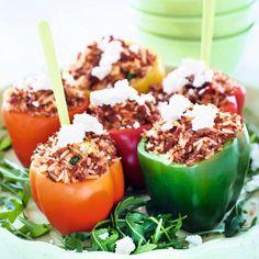 Fylld paprika med köttfärs, ris och fetaost.