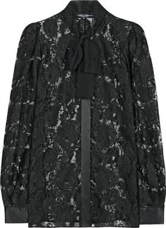 ShopStyle: Dolce & Gabbana Lace Bow Neck Blouse