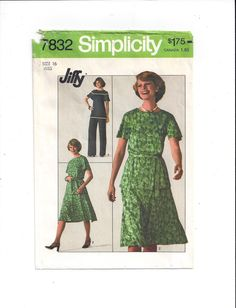 Simplicity 7832 Pattern for Misses' Jiffy Top, Pants, Skirt, Size 16, FACTORY FOLDED, UNCUT, From 1976, Vintage Pattern, Home Sewing Pattern by VictorianWardrobe on Etsy