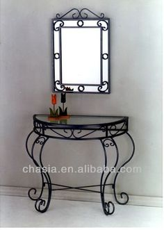 Wrought Iron Console Table With Mirror - Buy Wrought Iron Console Table With… Wrought Iron Console Table, Wrought Iron Chairs, Wrought Iron Decor, Wrought Iron Gates, Iron Table, Wrought Iron Designs, Iron Furniture, Steel Furniture, Furniture Makeover