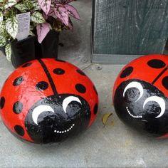 Stone Painted Ladybugs
