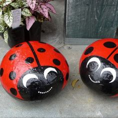 Stone Painted Ladybugs