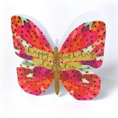 """Beautiful butterfly birthday card for daughters, with caption: """"Happy birthday daughter"""""""