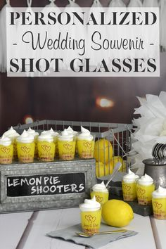 Lemon pie shooters in personalized plastic shot glasses will have everyone coming back for more at your wedding reception dessert station. These mouth-watering dessert shots taste just like lemon pie with out the mess and they look awesome on the dessert table. Personalized plastic shot glasses can be ordered at http://myweddingreceptionideas.com/2_oz_personalized_clear_plastic_shot_glasses.asp