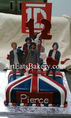 One Direction custom unique British flag birthday cake with #12, hearts, and music notes topper by arteatsbakery, via Flickr