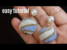 Espiral beaded ball earring. simple and easy to make for beginneras - YouTube Diy Bracelets Patterns, Beaded Earrings Patterns, Beaded Jewelry Designs, Bead Earrings, Diy Jewelry, Jewelery, Bead Art, Beads, Accessories