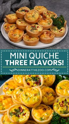 Mini quiches in three different flavors are an easy and elegant party snack! Brunch Recipes, Healthy Dinner Recipes, Appetizer Recipes, Breakfast Recipes, Cooking Recipes, Easter Recipes, Salad Recipes, Mini Quiche Recipes, Mini Quiche Crust Recipe