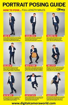 Cheat sheet: Full-length male model poses Learn how to pose male models with this high-res cheat sheet from the experts at Pose Portrait, Portrait Photography Poses, Photography Tips, Couple Photography, Digital Photography, Photography Awards, Iphone Photography, Wedding Photography, Product Photography