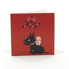 V&A Christmas Cards - Scottie Dog (Pack of 10, Square)  EVAEX