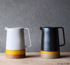 A look at the beautifully hand-crafted table and modernist ceramics From Pawena Studio which combine the best of Scandinavian, Asian and Indian influences. The post Marvelous Modernist and Graphic Ceramics From Pawena Studio. appeared first on Trendy. Ceramic Pottery, Ceramic Art, Slab Pottery, Keramik Design, Ceramic Pitcher, Ceramic Jugs, Pottery Classes, Pottery Designs, Pottery Studio