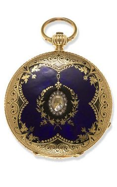 A diamond, enamel and eighteen karat gold hunter cased lever fob watch, Breitling Laederich, La Chaux-de-Fonds, mid 19th century no. 31209; nickel finished lever movement jeweled to the third wheel; counterpoised straight line escapement; uncut bi metallic balance with flat spring; key wound and set; white dial with Roman chapters and blued steel tulip hands; diameter: 40mm.