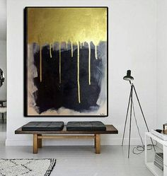 Gold Abstract, Gold painting, Gold art, Acrylic painting, Art painting, Gold artwork, Gold on canvas, Handmade painting, Home decor artwork By Ron Deri SHIPPED STRETCHED on inside wood frame and READY TO HANG! This acrylic painting is SOLD! I Create your Painting in the same size and