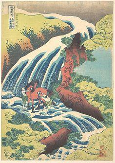 """""""The Waterfall where Yoshitsune washed his horse at Yoshino"""" woodblock print, by Katsushika Hokusai (1760-1849), Japan"""
