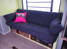 RV Renovation Jackknife Couch BeforeAfter Ikea futon Rv and