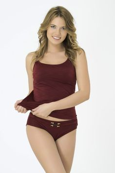 Bordeaux Tankini in standard and plus sizes at Airy Mary. By Turkish designer brand Bellisa.