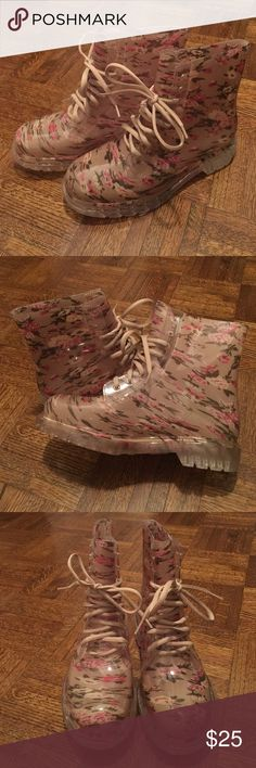 Floral Combat Rain Boots Sz 9 Super cute, softly feminine rain boots Lined for comfort Size 9 New, in box, never worn Diviana Shoes Combat & Moto Boots