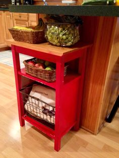 Old storage cabinet made into a fruit/veggie storage.
