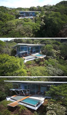 Cañas Arquitectos have designed this modern house in the Papagayo peninsula in Costa Rica, that's surrounded by forest and has water views.