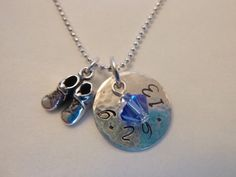 new baby birthdate birthstone customized necklace by hjvdesigns