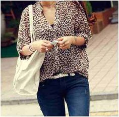 Casual leopard Blouse Wholesale T Shirts, Leopard Blouse, Design Girl, Cheap Shirts, Affordable Clothes, Chiffon, T Shirts For Women, Retail, Slim