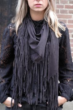 Suede Fringe sjaal Zwart